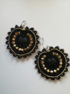 Black and gold sunflower soutache earrings