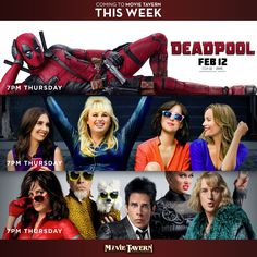 What will you be watching this weekend? Upcoming Films, New Movies, Deadpool, Movie Posters, Film Poster, Billboard, Film Posters