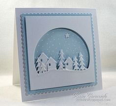 My project today is a country village snow scene made using the Memory Box Countryside Circle paired with the My Favorite Things Mini Scallop Square Stax and a tiny star from the Christmas Cards To Make, Xmas Cards, Handmade Christmas, Holiday Cards, Cards Diy, Memory Box Cards, Memory Box Dies, Scrapbook Expo, Snow Scenes