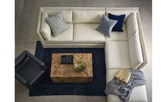 How to style a sectional sofa seating area.