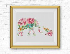 BOGO FREE! Elephant Cross Stitch Pattern, Baby Elephant Flowers Counted Cross…