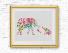 BOGO FREE! Elephant Cross Stitch Pattern, Baby Elephant Flowers Counted Cross…