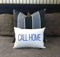 """Our new """"Call Home"""" pillows are a great Christmas gift for your college student. Don't they always need just a little reminder? #callhome #phonehome #dormroom #giftideas #onekingslane #preppy #giftguide #newportbeach #callmom"""