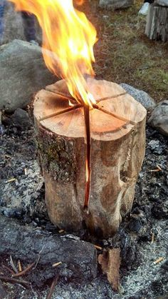 Dodge made one of these last year - must do it again!  Backyard Firepit: This is called a Swedish flame. Start by making your cuts like you're cutting cake and leave about 6 inches at the base. Throw some fuel oil in there (about a cap full) and it will burn approximately two to three hours.