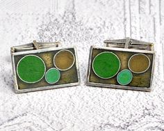 Check out the deal on German Modernist Matte Enamel Dot Cufflinks Signed PERLI at Amazing Adornments