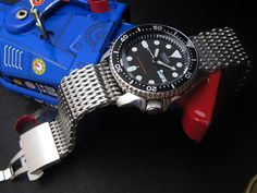 "Seiko Diver SKX007 on Ploprof 316 Reform Stainless Steel ""SHARK"" Mesh Watch Band Dome Deployant Strap Brush"