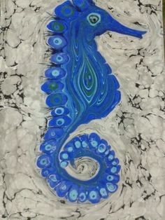 ebru sanatı ( marbling art )denizatı see horse. By Mai Hatti