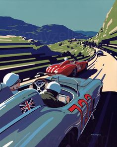 Classic & Sports Car ( Mille Miglia: I absolutely love these old posters. It's hard to decide whether to pin them under auto or art! Auto Poster, Poster Cars, Old Poster, Bike Poster, Classic Sports Cars, Grand Prix, Auto Illustration, Mercedes Benz Autos, Up Auto