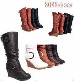 18b545dbe2b Boots 53557  Women S Lace Low Wedge Mid-Calf Knee High Slouchy Boot Shoes