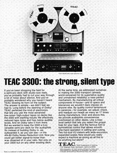 1972 ad for the Teac 3300 reel to reel tape recorder in the Reel2ReelTexas.com vintage recording collection