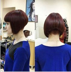 Are you a modern woman on the hunt for a classy, statement hairstyle? Our long inverted bob variations are a fabulous declaration of femininity mixed with a bit of boldness that is sure to take your hair to the next level! Shaved Bob, Shaved Nape, Carre Haircut, Short Hair Cuts, Short Hair Styles, Coffee Brown Hair, Morning Hair, Bob Haircut With Bangs, Bob Haircuts