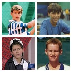 Roger Federer, Rafael Nadal, Novak Djokovic and Andy Murray as kids
