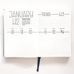 Bullet journal weekly layout, minimalist bullet journal weekly layout, weekly task tracker. | @flyingpaperwords