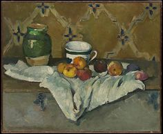 Still Life with Jar, Cup, and Apples - Paul Cézanne (French, Aix-en-Provence 1839–1906 Aix-en-Provence)   Date: ca. 1877