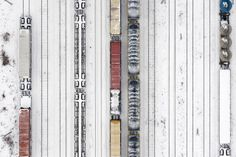 The 2014 Sony World Photography Awards - In Focus - The Atlantic Snow-covered trains on tracks leading to an industrial site at the port of Gdynia, Poland. (© Kacper Kowalski, 2014 Sony World Photography Awards) World Photography, Photography Awards, Aerial Photography, World Press, Photo Awards, Press Photo, Birds Eye View, Top View, Aerial View