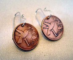 Terry-Copper HUMMINGBIRD COIN EARRINGS, Trinidad Tobago, bird, sterling earwires, 1999, coin jewelry