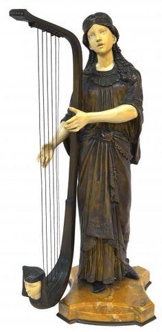 """ALONZO Dominique - """"TAHOSER"""" - Escultura Art Deco francesa, cerca de 1925. de bronze e marfim representando princesa egípcia tocando harpa. Alt. 62 cm"""