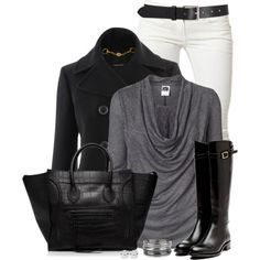 """White Jeans With Boots"" by immacherry on Polyvore"