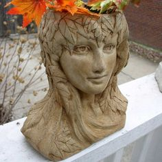 sculpture head planters   Mother Nature Head Planter 8 inches tall with a drain. Cast Cement ...