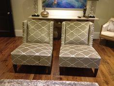A pair of hand made occasional chairs for a formal drawing room. They are covered in Andrew Martin's Oakley – Buff and are finished with silver studs. Bespoke Sofas, Corner Unit, Cushion Filling, Occasional Chairs, Drawing Room, Sofa Bed, Recliner, Oakley, Cribs