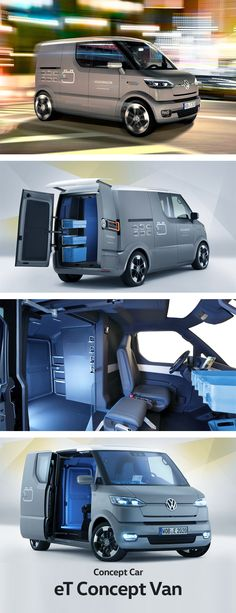 """Meet eT! The electric delivery van of the future. Volkswagen teamed up with Deutsche Post and the Braunschweig University of Arts to create a sophisticated concept car with technical innovations tailor-made for delivery services. The delivery driver can use a smartphone to activate the """"follow me"""" function. When the driver leaves the vehicle to drop off the goods, the van moves independently along behind him at walking speed."""