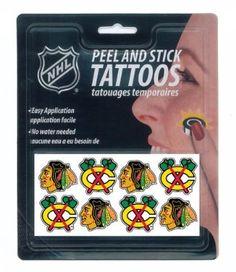 Amazon.com: Chicago Blackhawks Peel and Stick Temporary Tattoos: Sports & Outdoors