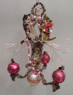 antique victorian dresden scrap christmas ornament naughty cats decorate chandelier
