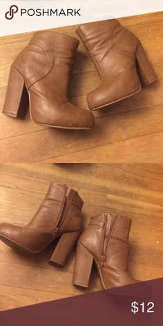Size 6.5 Blowfish booties Camel color, chunky heel. Size 6.5- small puncture shown in pic- very good condition! Blowfish Shoes Ankle Boots & Booties