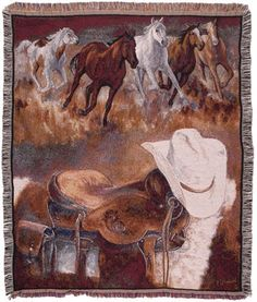 Personalized Western Way Horses Western Tapestry Throw