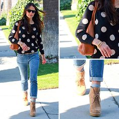 love this outfit  Madwell Polka Dot Sweater