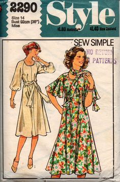 "Style 2290 vintage sewing pattern, dated Sew Simple - Misses' Dress and Scarf. ""Pull-over-the-head"" flared dress, worn with matching scarf, has bias-cut Style Patterns, Dress Patterns, Tent Dress, Scarf Dress, Vintage Sewing Patterns, Pattern Fashion, Size 14, Easy, Sleeves"