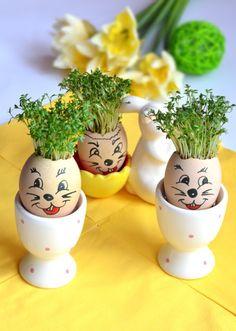 Przepisy Magdy: Zajączki - irokezy Decoupage, Eggs, Spring, Fun, Easter Ideas, Crochet, Easter, Ornaments, Egg