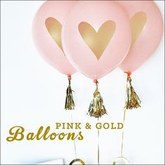 Gold Heart Pink Balloons Set Of 6