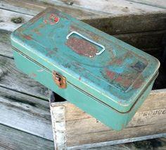 Vintage Metal Tackle Box in Green