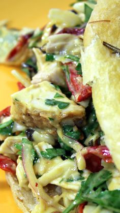 Italian Chicken Salad (Insalata di pollo)  Parsley, Red Peppers and white meat Chicken turn the colors of the Italian Flag into this tasty delicious uniquely flavored chicken salad.  PLUS, if you are looking for a mayonnaise less salad, this is for you... NO MAYO!