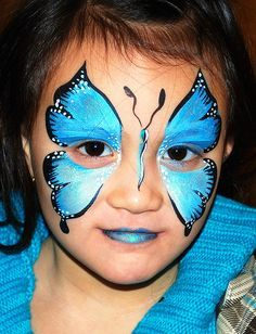 Face painting butterfly blue