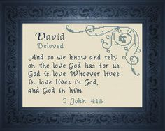 Cross Stitch David with a name meaning and a Bible verse