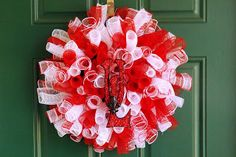 Red and White Spiral Deco Mesh Wreath