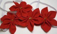 Poinsettia Headbands--or use these for napkin rings, pins, ornaments, etc.
