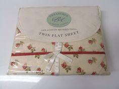Cotton Twill Twin Sheet Flat Vintage Treasures Rachel Ashwell Camden Rose Flat sheet