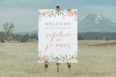 DIY Printable Rustic Watercolour Floral Wedding Welcome Sign | Calligraphy | Rustic Vintage | Custom Designs Available