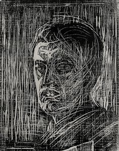 "Edvard Munch, woodcut, self portrait facing left. Best known for his painting of ""The Scream""."