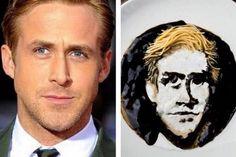 Retrato de Ryan Gosling con fideos. #RyanGosling #Arte #Comida