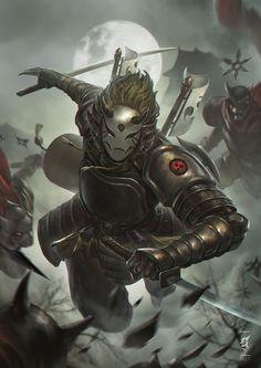 Воины (Fantasy),Воины(Fantasy),Fantasy,Fantasy art,art,арт,Gun Gunawan,ninja,samurai,Мрачные картинки