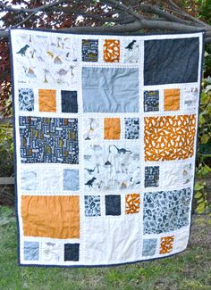 Fossil Rim 2 – Craftsman Baby Quilt – Famous Last Words Drunkards Path Quilt, Boys Quilt Patterns, Modern Quilt Patterns, Owl Patterns, Quilting Patterns, Canvas Patterns, Quilting Ideas, Quilt Baby, Big Block Quilts