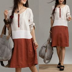 Linen stitching temperament dress / round neck roll by dreamyil, $99.00