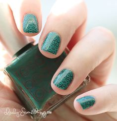 Teal Pattern Stamping Manicure. This is Base Color: Rescue Beauty Lounge Jack In the Pulpit; Stamping Color: Sally Hansen Insta-Dri Mint Sprint; Stamping Plate: Bundle Monster BM-315