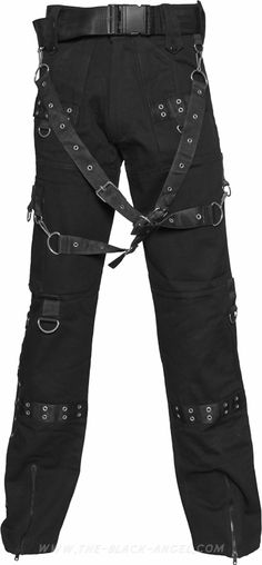 Gothic men's pants by Raven SDL, black cotton, ornate with eyelets and removable bondage straps.