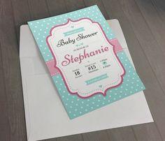 DIGITAL - Baby Shower turquoise and pink Invitation