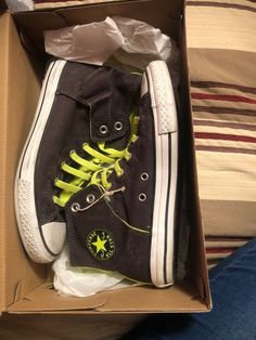 48adaa7bed Size 5 Brown And Neon Yellow Converse  fashion  clothing  shoes   accessories